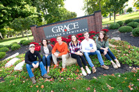 Students in Front of Grace Sign